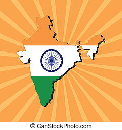 India map flag on sunburst