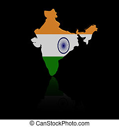 India map flag with reflection illustration