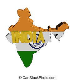 India map flag with text