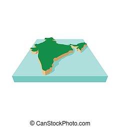 India map icon, cartoon style