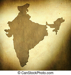 India map on grunge background - There is a map of India on...