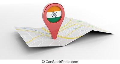 India map pointer on white background. 3d illustration