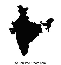 India map silhouette in black on a white background isolated.