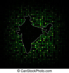 India map silhouette on hex code illustration