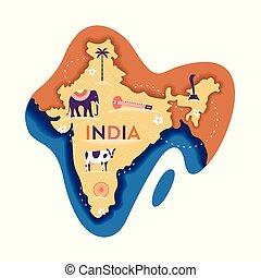 India map, vector flat illustration, white background.