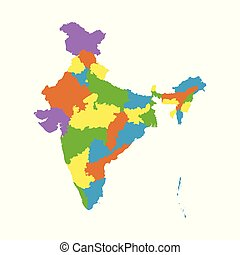 India Map With State Name.India States Map Of India Outline Illustration Country Map With