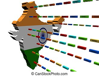 India map with lines of export containers