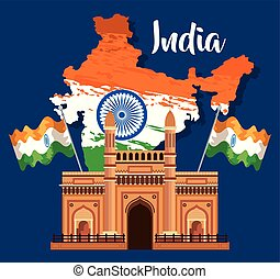 india map with national flag and architecture