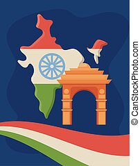 India map with national flag and India Gate