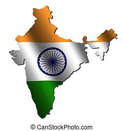 india, mapa, bandera