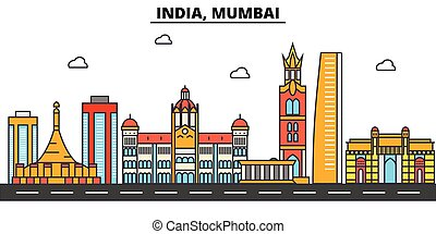 India, Mumbai. City skyline architecture, buildings,...