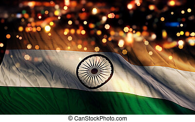 India National Flag Light Night Bokeh Abstract Background