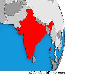 India on 3D globe