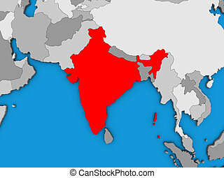 India on 3D map