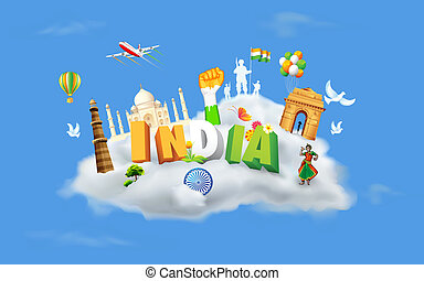 India on Cloud - illustration of monument and dancer on...