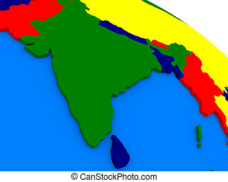 India on colorful 3D globe