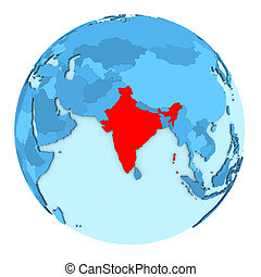 india on isolated globe india highlighted in red on 3d globe with