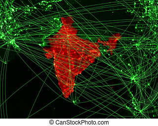 India on green map