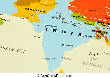 India on map - Close up of India on map