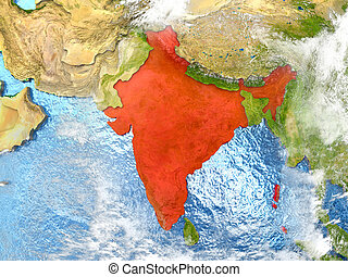 India on map with clouds