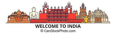 India outline skyline, indian flat thin line icons, landmarks, illustrations. India cityscape, indian travel city vector banner. Urban silhouette