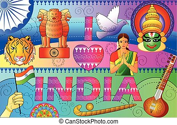 India patriotic background showing diverse Culture and Art