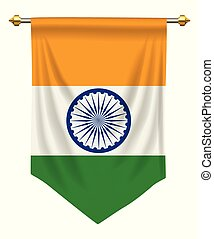 India Pennant - India flag or pennant isolated on white