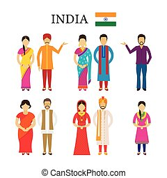 India People in Traditional Clothing - Men and Women,...