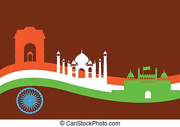 india, plano de fondo, con, monumento, y, edificio