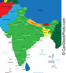 india, político, mapa