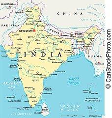 India Political Map - India political map with capital New...