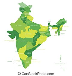 India - political map of administrative divisions