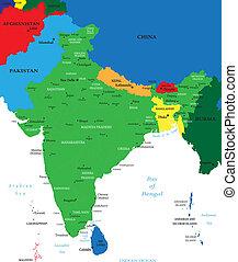 india, politico, mappa
