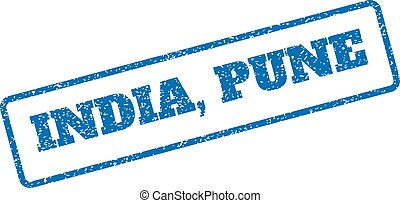 India Pune Rubber Stamp - Blue rubber seal stamp with India,...
