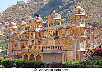 India, Rajasthan, Jaipur, one of the many hindu temples in...