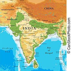 Highly detailed physical map of India, in vector format, with all the relief forms, regions and big cities.