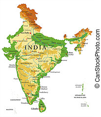 India relief map - Highly detailed physical map of India...