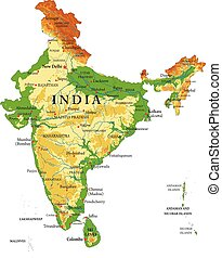 India relief map - Highly detailed physical map of India,in...