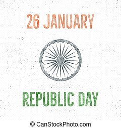 India republic day vintage label template. Retro typography concept. Vector illustration