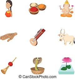 India Republic icons set, cartoon style