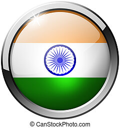 India Round Metal Glass Button