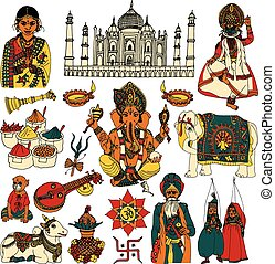India sketch set - India travel traditional culture...