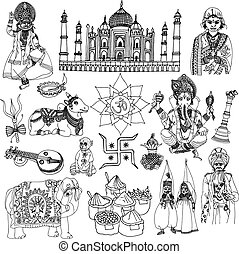 India travel traditional culture decorative sketch icons set with elephant lotus buddha isolated vector illustration