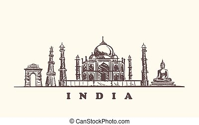 India skyline vector illustration.India sketch hand drawn.