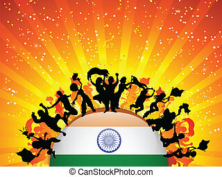India Sport Fan Crowd with Flag