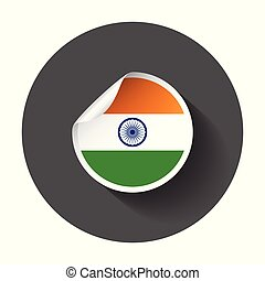 India sticker with flag. Vector illustration with long shadow.