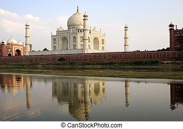 India - Taj Mahal as seen from acress the in Agra  India
