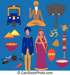 India symbols set. Hinduism design elements. South Asia beautiful woman and man wearing indian traditional cloth. Vedic cuisine, set of vegetarian healthy food. Holi objects for traditional festival of colours