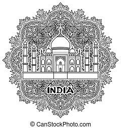 India Taj Mahal - India pattern with Taj Mahal on floral...