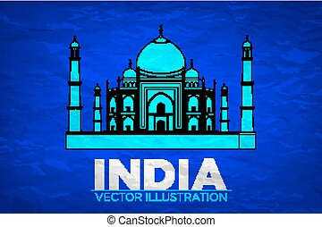 India. Taj Mahal on Vector illustration